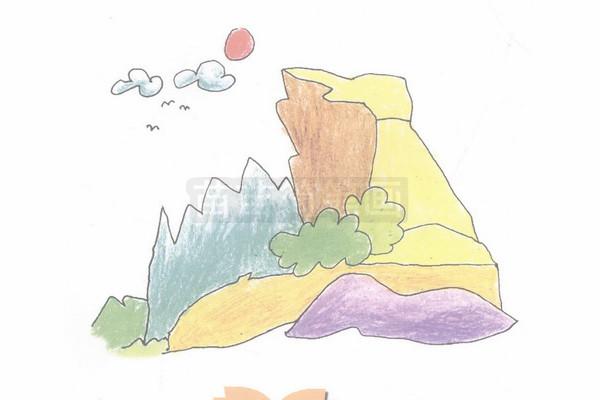 山崖简笔画图片步骤四