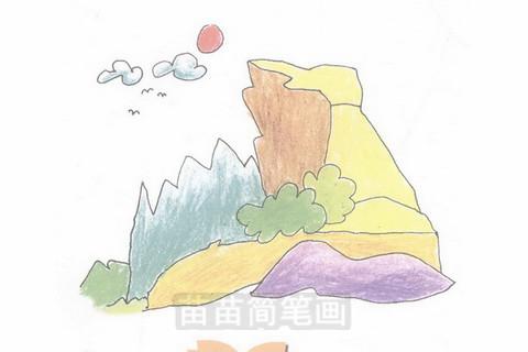 山崖简笔画大图