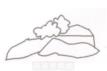 山崖简笔画图片步骤一