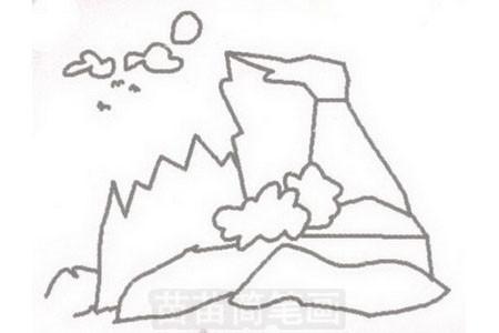 山崖简笔画图片步骤三