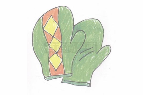 手套简笔画图片步骤四