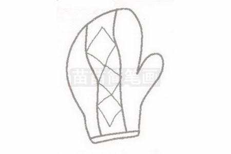 手套简笔画图片步骤二