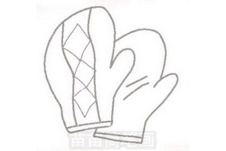 手套简笔画图片步骤三