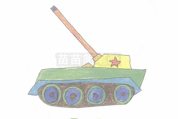 坦克简笔画图片步骤四