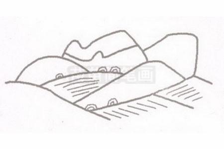 田野简笔画图片步骤二