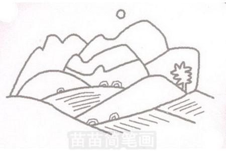 田野简笔画图片步骤三