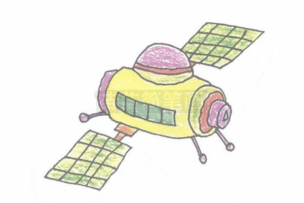 卫星简笔画图片步骤四