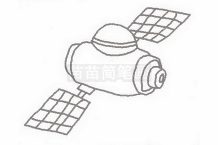 卫星简笔画图片步骤二