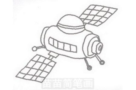 卫星简笔画图片步骤三