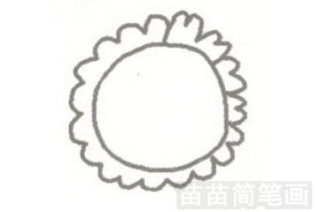 向日葵简笔画图片步骤一