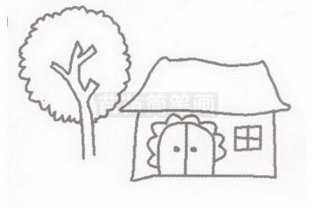 小屋简笔画图片步骤二