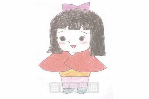 《聪明的一休》女主角小叶子简笔画大图