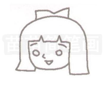 《聪明的一休》女主角小叶子简笔画图片步骤二