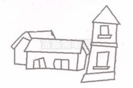 小院简笔画图片步骤二