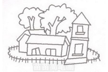 小院简笔画图片步骤三