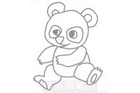 熊猫简笔画图片步骤三