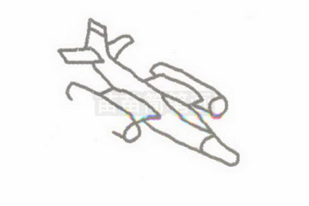 侦察机简笔画图片步骤二