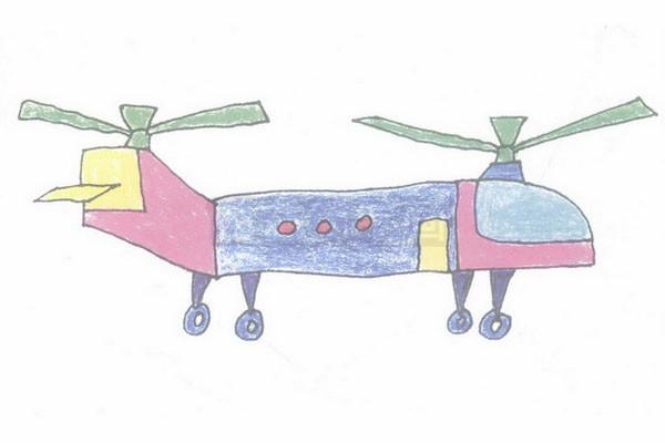 直升机简笔画图片步骤四