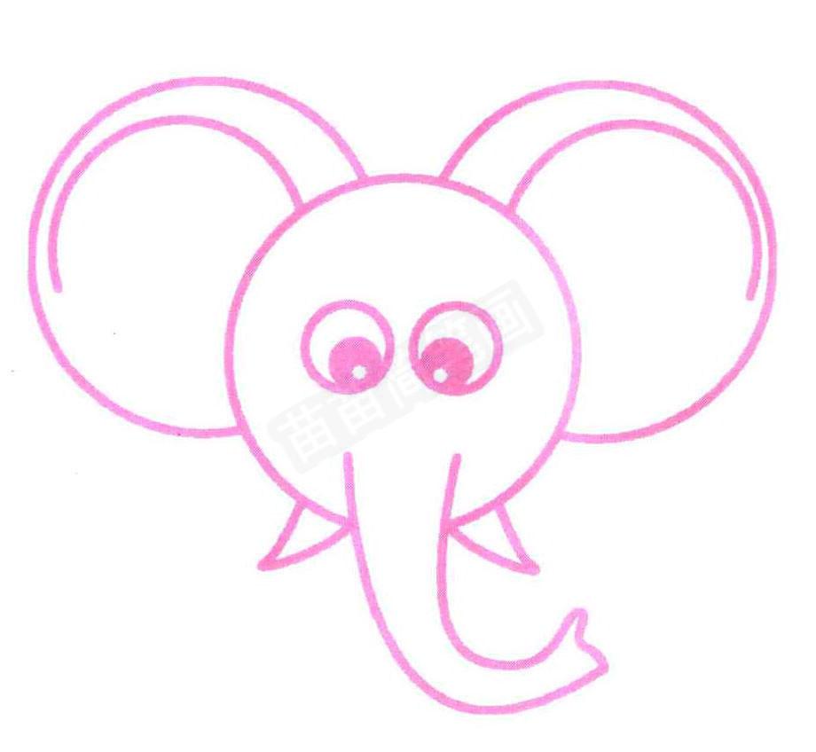 大象头像简笔画怎么画