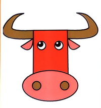 公牛头像简笔画怎么画