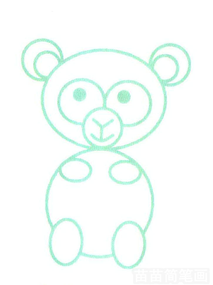 用圆和椭圆组成的猴子简笔画怎么画