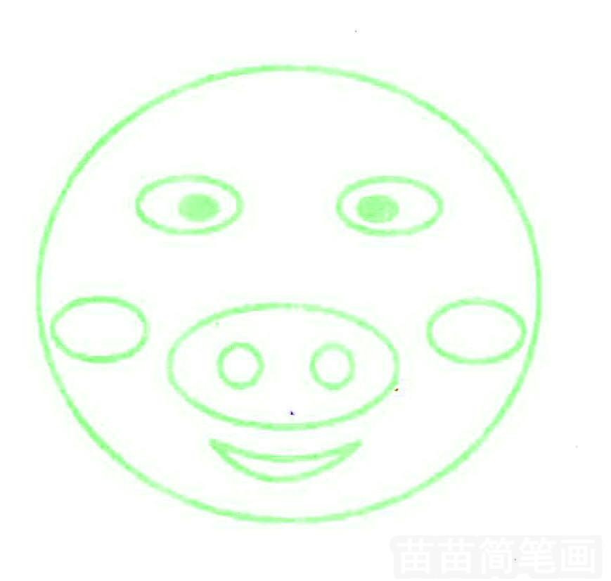 猪头简笔画怎么画