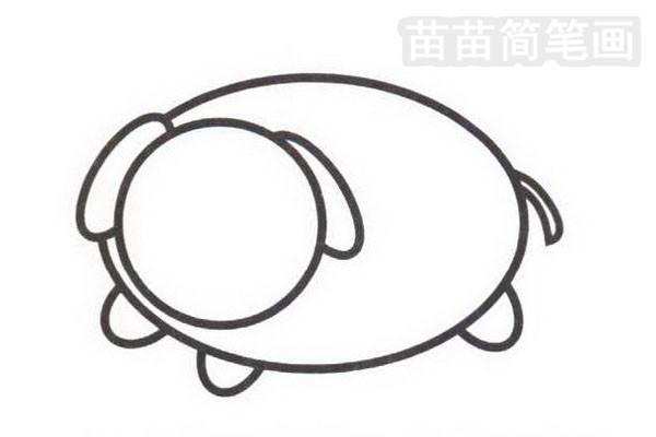 小猪简笔画怎么画步骤二