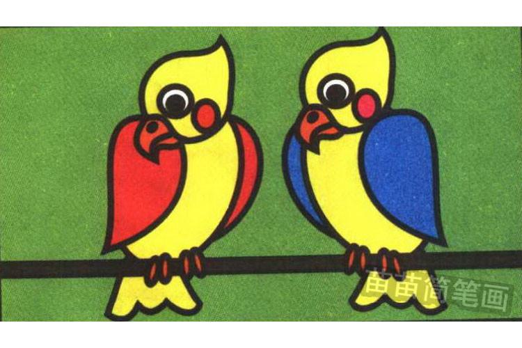 鹦鹉彩色简笔画图片