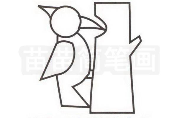 啄木鸟简笔画步骤分解彩色教程步骤三
