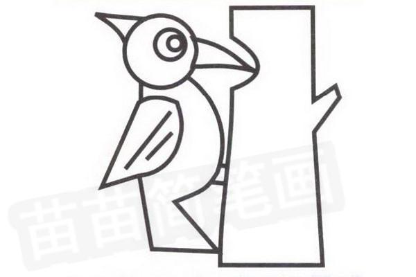 啄木鸟简笔画步骤分解彩色教程步骤四