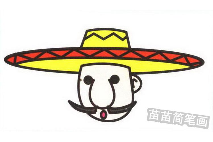 墨西哥人彩色简笔画图片