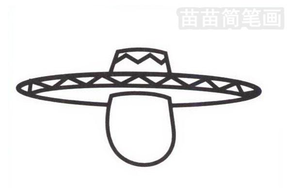 墨西哥人简笔画怎么画步骤二