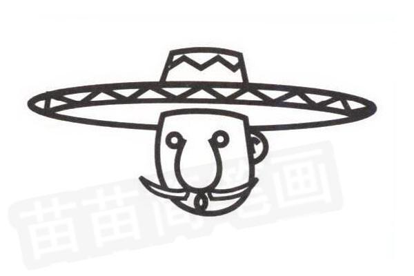 墨西哥人简笔画怎么画步骤四