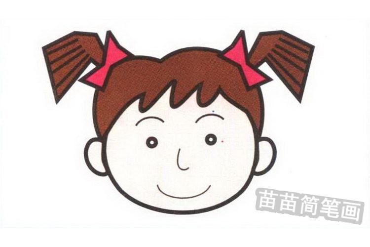 女孩彩色简笔画图片