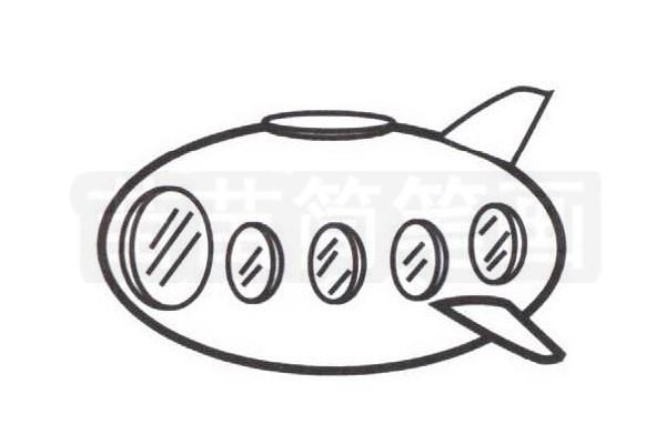 潜水艇简笔画怎么画