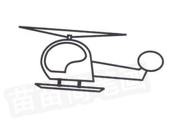 直升机简笔画步骤分解彩色教程步骤四