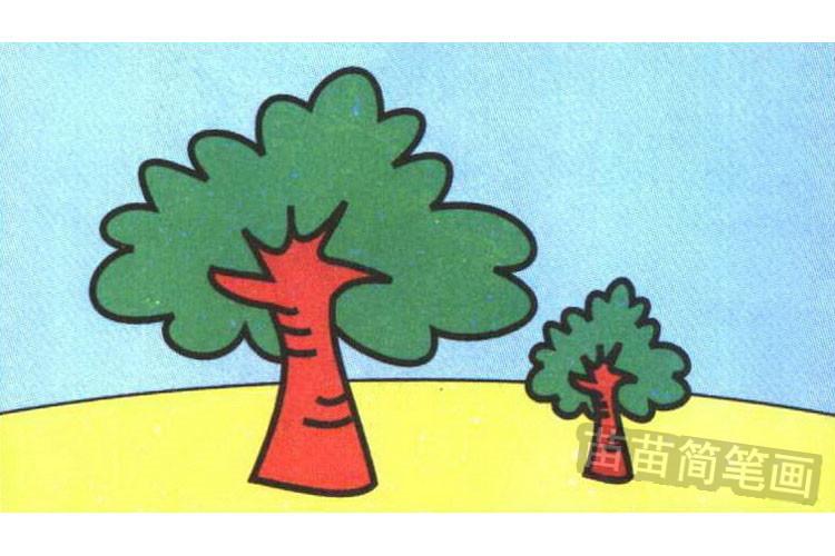 步骤五:如上图,涂上颜色的大树简笔画更好看.-大树简笔画怎么画
