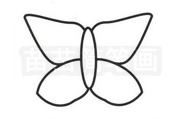 蝴蝶花简笔画怎么画步骤三