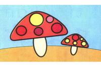 蘑菇简笔画步骤分解彩色教程