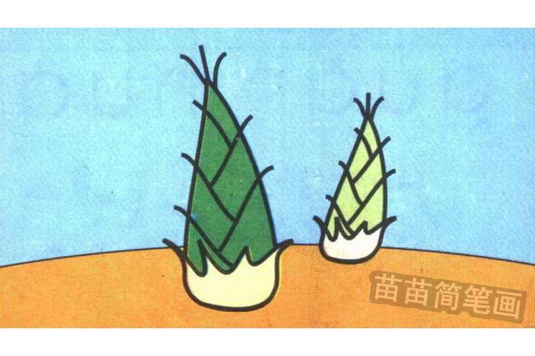 竹笋简笔画步骤分解彩色教程