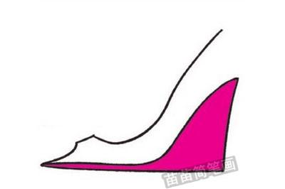 高跟鞋简笔画图片教程步骤二