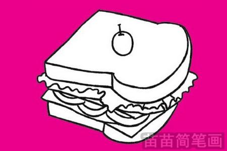 三明治画法简笔画图片 汉堡包画法简笔画图片大全  三明治怎么画可爱图片