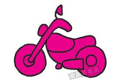 摩托车简笔画图片教程步骤四