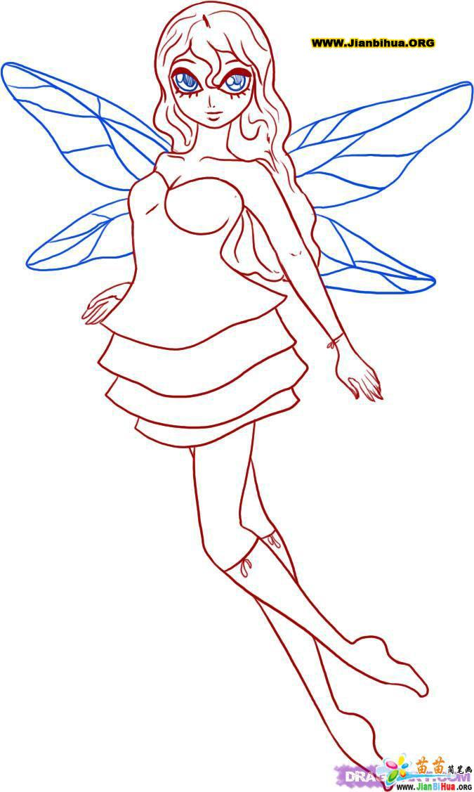 仙女简笔画22张图片(神话人物类)(第4张)