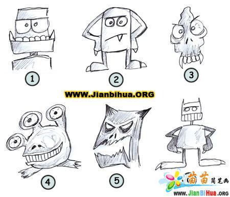 如何画卡通怪物简笔画图片教程(第2张)