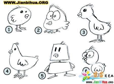 如何画卡通小鸡简笔画教程