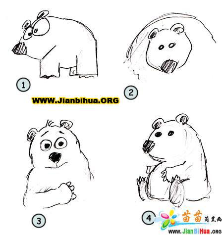 如何画北极<font color=red>熊简笔画图片</font>教程