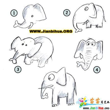 如何画卡通大象简笔画教程10张图片(第2张)-大象卡通简笔画