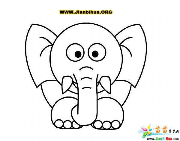 简单的大象卡通画教程图片