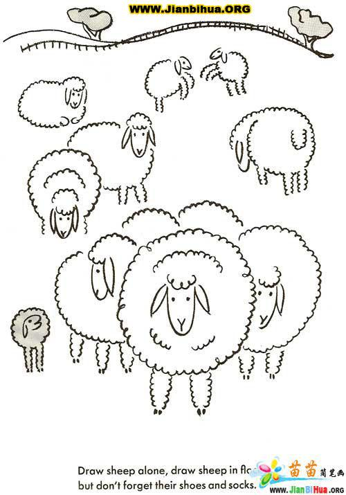 如何画绵羊简笔画图片教程_简笔画_51自学网;